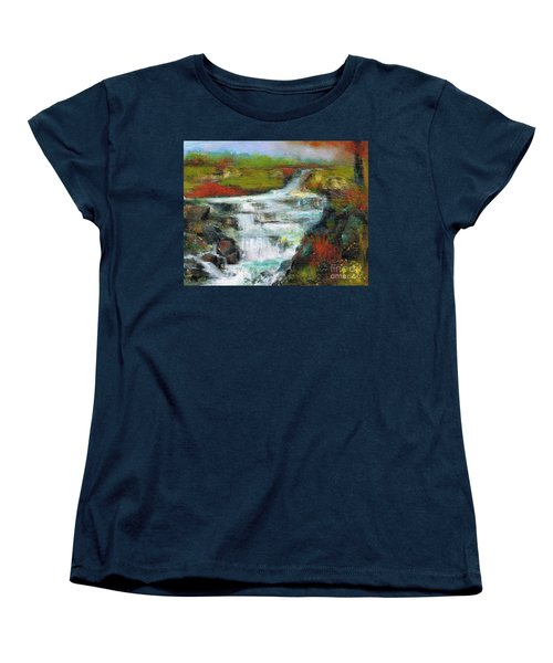 Yellow Fields With Red Sumac Women's T-Shirt (Standard Cut) by Frances Marino
