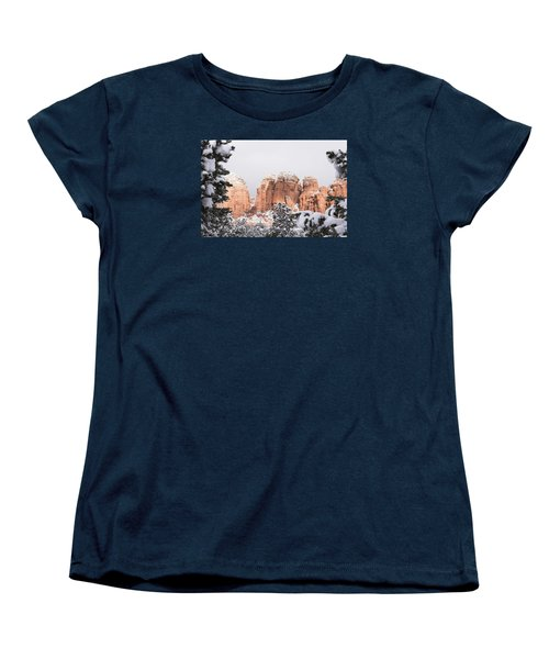 Red Towers Under Snow Women's T-Shirt (Standard Cut) by Laura Pratt