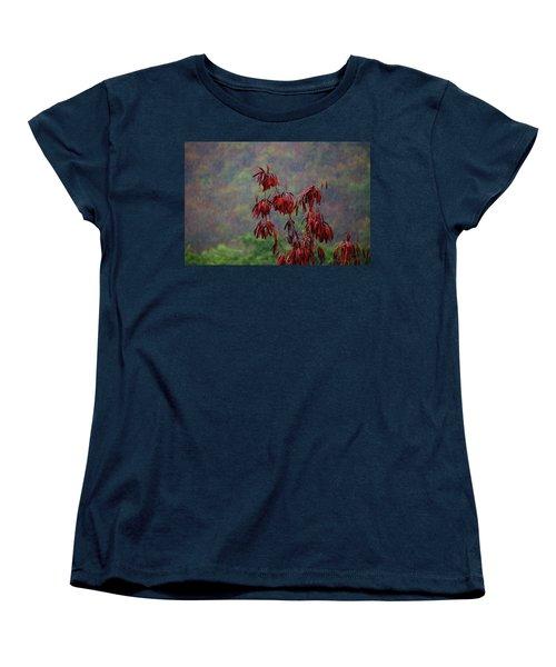 Red Tree In The Rain Women's T-Shirt (Standard Cut) by Michael Thomas