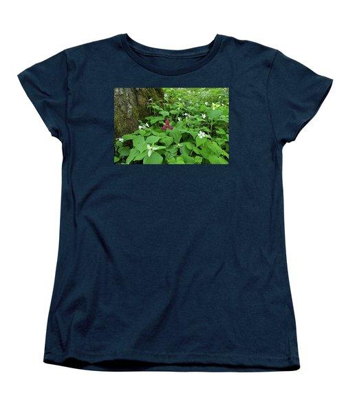 Red Trillium At Center Women's T-Shirt (Standard Cut) by Alan Lenk