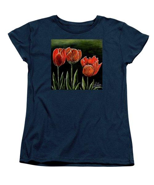 Red Tulips Women's T-Shirt (Standard Cut) by Judy Kirouac