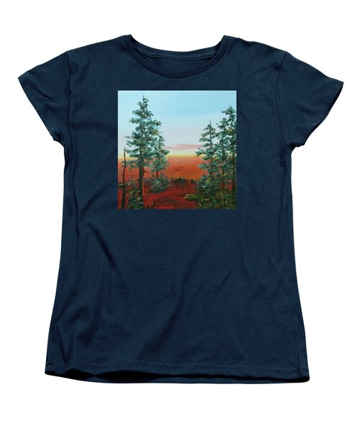 Women's T-Shirt (Standard Cut) featuring the painting Redwood Overlook by Roseann Gilmore