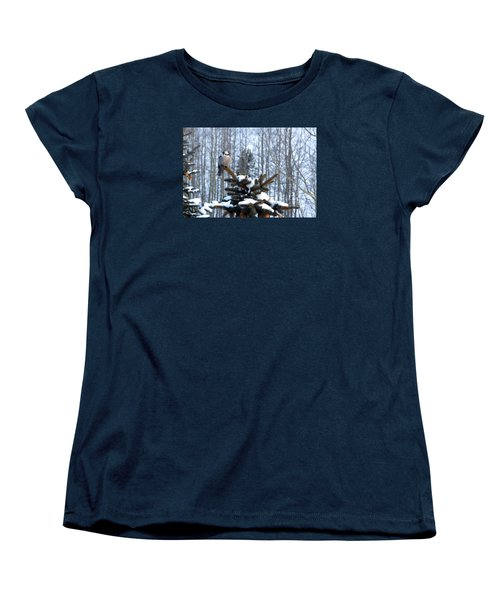 Refined Little Gray Jay In Colorado Women's T-Shirt (Standard Cut) by Carol M Highsmith
