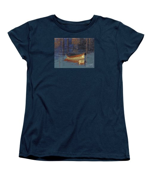 Women's T-Shirt (Standard Cut) featuring the painting Sold Reflecting At Day's End by Nancy  Parsons