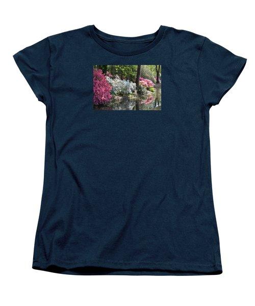 Women's T-Shirt (Standard Cut) featuring the photograph Reflecting Azaleas by Linda Geiger