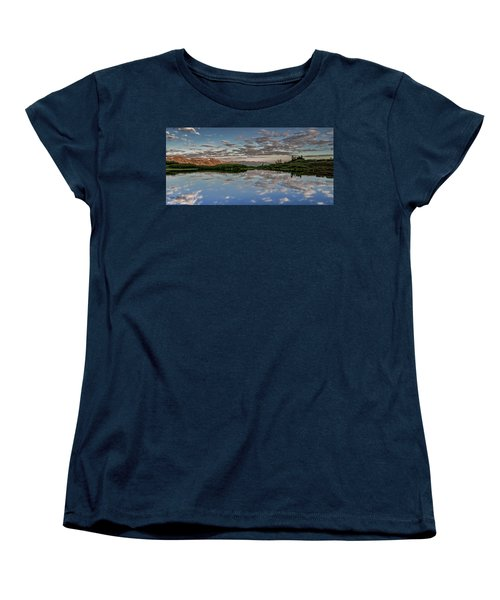 Women's T-Shirt (Standard Cut) featuring the photograph Reflection In A Mountain Pond by Don Schwartz