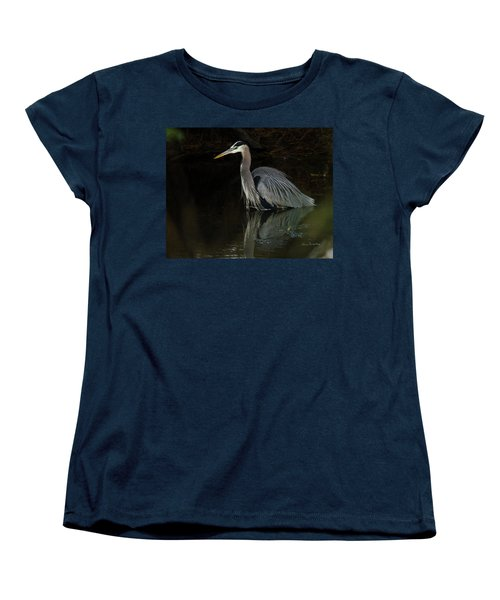 Women's T-Shirt (Standard Cut) featuring the photograph Reflection Of A Heron by George Randy Bass