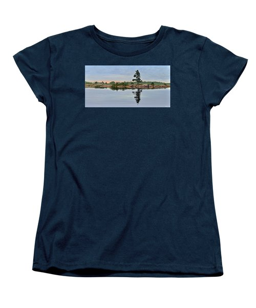 Women's T-Shirt (Standard Cut) featuring the painting Reflection On The Bay by Kenneth M Kirsch