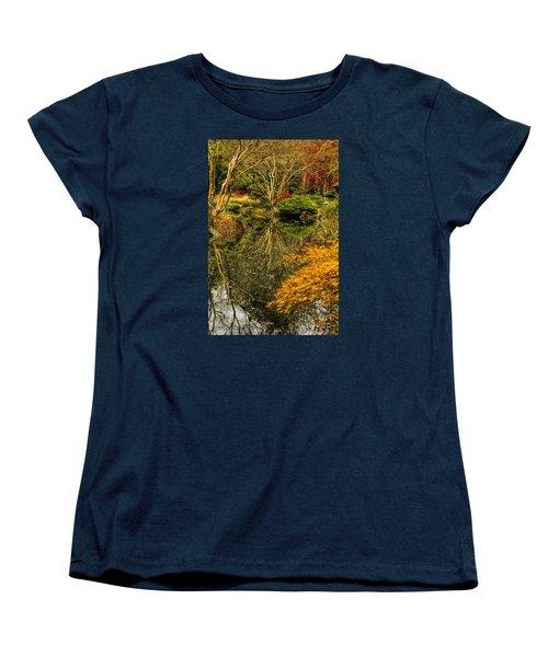 Women's T-Shirt (Standard Cut) featuring the photograph Reflections At Japanese Gardens by Barbara Bowen