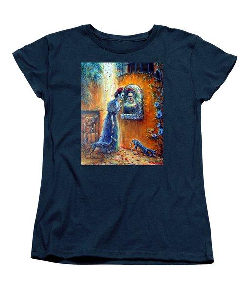 Women's T-Shirt (Standard Cut) featuring the painting Reflejo De Frida by Heather Calderon