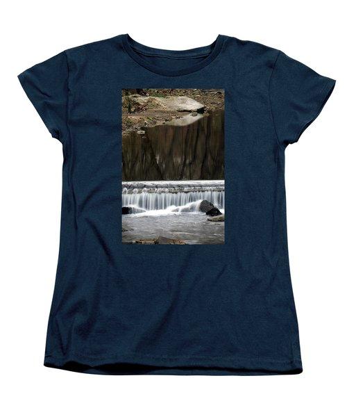 Women's T-Shirt (Standard Cut) featuring the photograph Reflexions And Water Fall by Dorin Adrian Berbier
