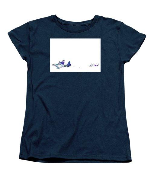 Women's T-Shirt (Standard Cut) featuring the digital art Refueling Watercolor On White by Bartz Johnson
