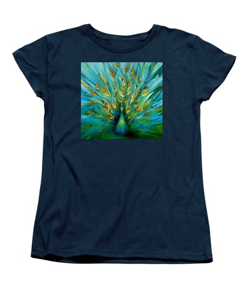 Women's T-Shirt (Standard Cut) featuring the painting Regal Peacock by Dina Dargo