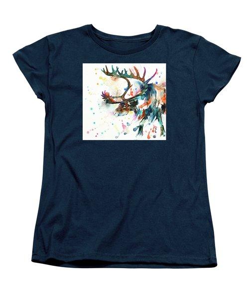 Women's T-Shirt (Standard Cut) featuring the painting Reindeer by Zaira Dzhaubaeva