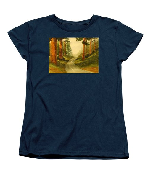 Women's T-Shirt (Standard Cut) featuring the painting Remembering Redwoods by Marilyn Jacobson