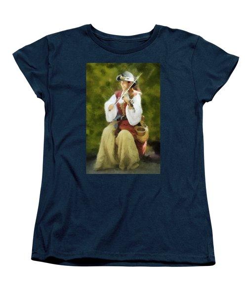 Renaissance Fiddler Lady Women's T-Shirt (Standard Cut) by Francesa Miller