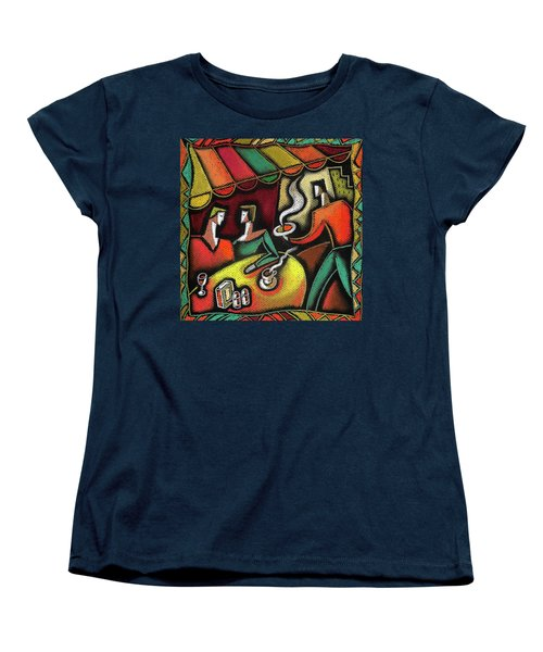 Women's T-Shirt (Standard Cut) featuring the painting Restaurant by Leon Zernitsky