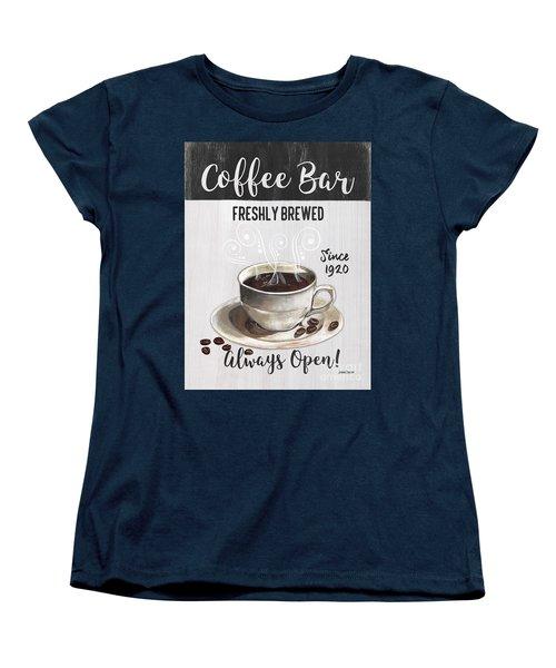 Women's T-Shirt (Standard Cut) featuring the painting Retro Coffee Shop 2 by Debbie DeWitt
