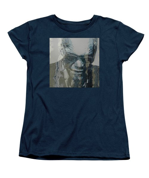 Women's T-Shirt (Standard Cut) featuring the mixed media Retro / Ray Charles  by Paul Lovering