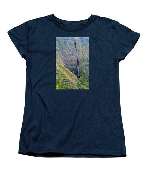 Ribbon Falls On The Napali Coast Women's T-Shirt (Standard Cut) by Brenda Pressnall