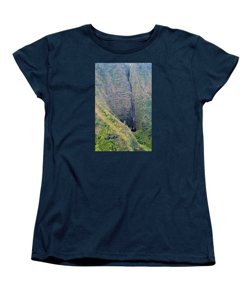 Women's T-Shirt (Standard Cut) featuring the photograph Ribbon Falls On The Napali Coast by Brenda Pressnall