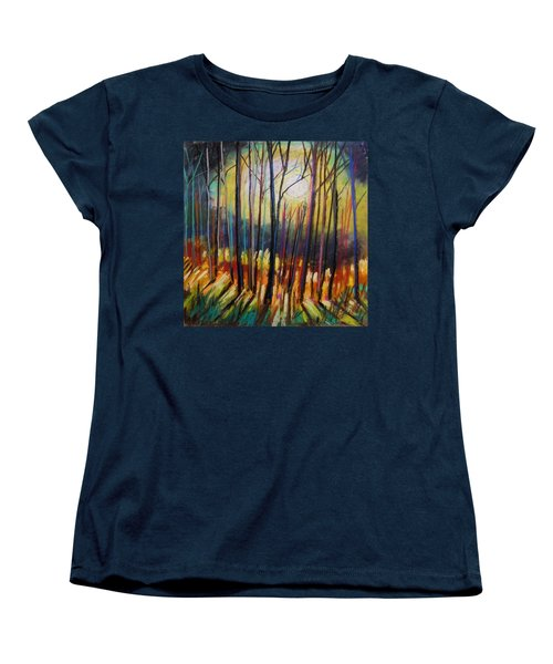 Women's T-Shirt (Standard Cut) featuring the painting Ribbons Of Moonlight by John Williams