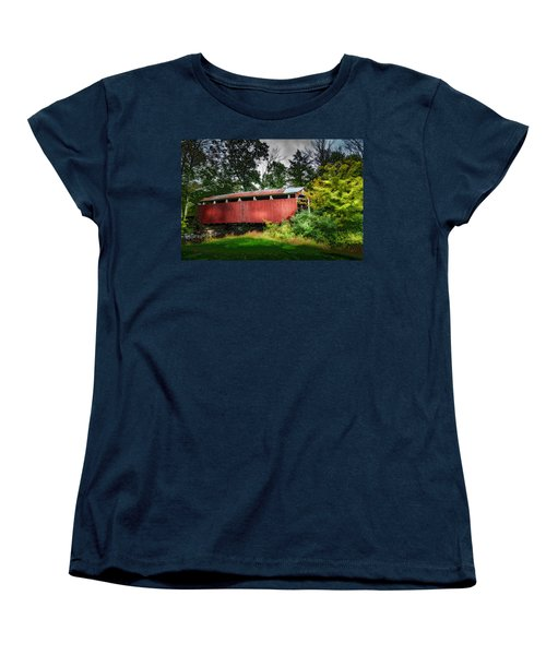 Women's T-Shirt (Standard Cut) featuring the photograph Richards Covered Bridge by Marvin Spates
