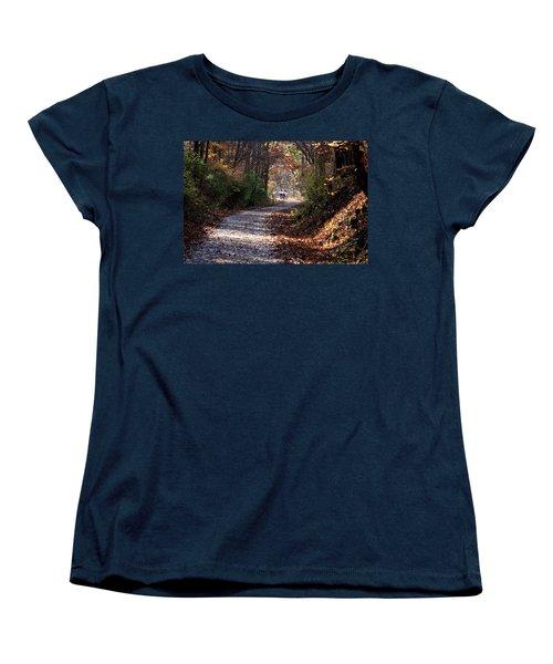 Riding Bikes On Park Trail In Autumn Women's T-Shirt (Standard Cut)
