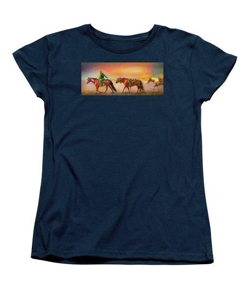 Women's T-Shirt (Standard Cut) featuring the digital art Riding The Surf by Kari Nanstad