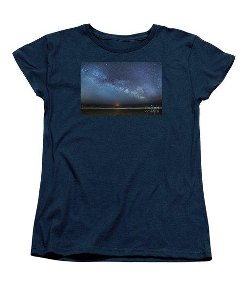 Rising Tide Rising Moon Rising Milky Way Women's T-Shirt (Standard Cut) by Patrick Fennell