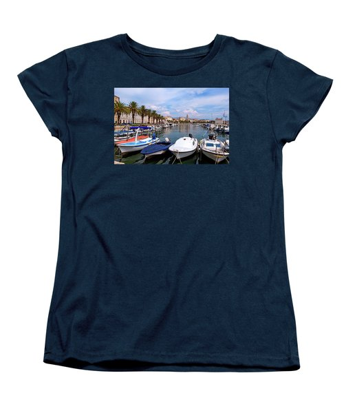 Riva Waterfront, Houses And Cathedral Of Saint Domnius, Dujam, Duje, Bell Tower Old Town, Split, Croatia Women's T-Shirt (Standard Cut) by Elenarts - Elena Duvernay photo
