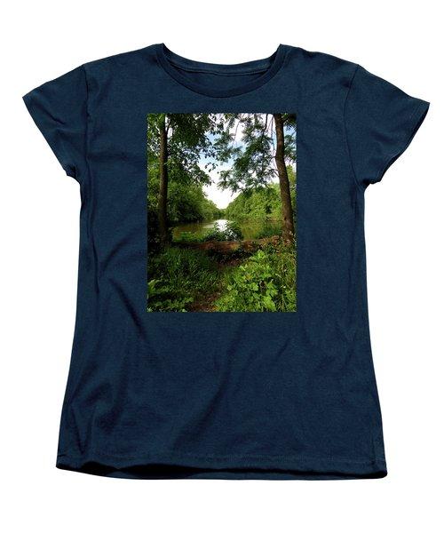 Women's T-Shirt (Standard Cut) featuring the photograph River Bend Seating by Kimberly Mackowski
