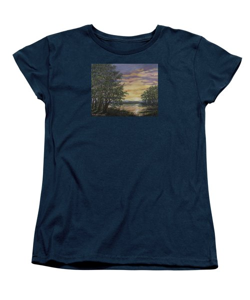 Women's T-Shirt (Standard Cut) featuring the painting River Cove Sundown by Kathleen McDermott