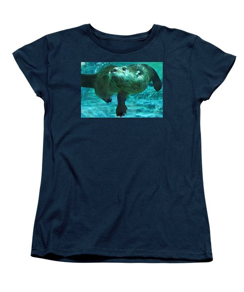 River Otter Women's T-Shirt (Standard Cut) by Steve Karol