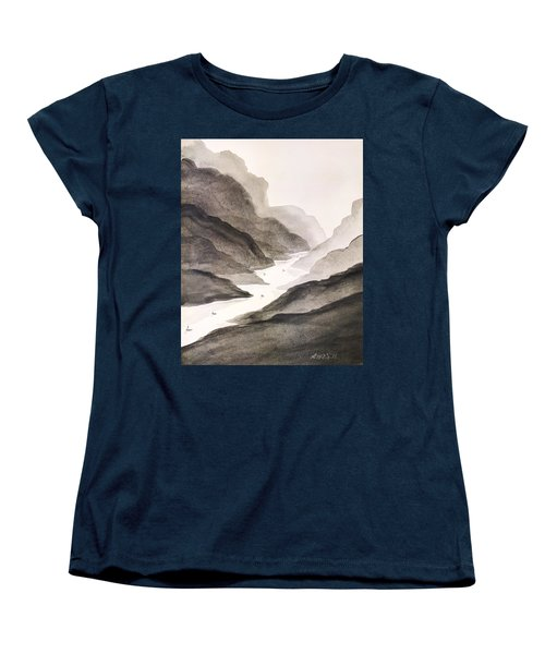 Women's T-Shirt (Standard Cut) featuring the painting River Running Through Mountains by Edwin Alverio