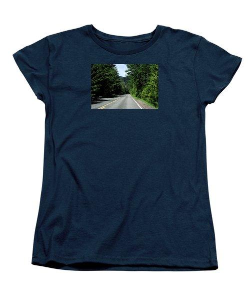 Road Among The Trees Women's T-Shirt (Standard Cut) by John Rossman