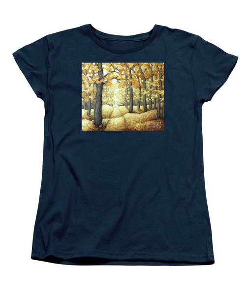 Road To Autumn Women's T-Shirt (Standard Cut) by Inese Poga