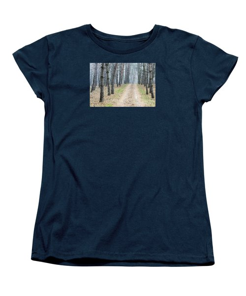 Road To Pine Forest Women's T-Shirt (Standard Cut) by Odon Czintos