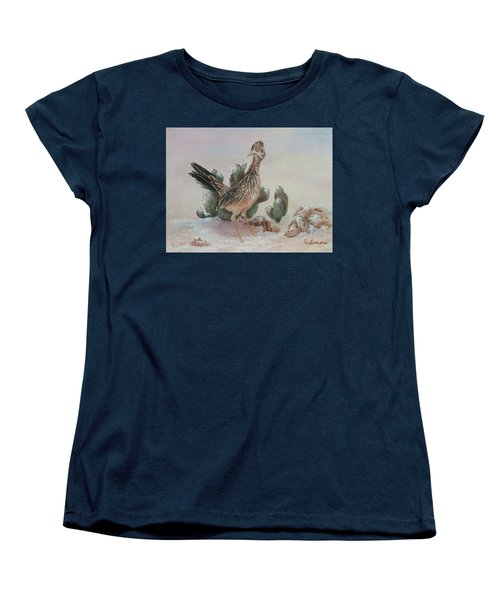 Women's T-Shirt (Standard Cut) featuring the painting Roadrunner In Snow by Roseann Gilmore