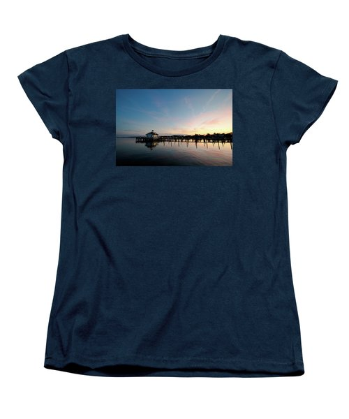 Roanoke Marshes Lighthouse At Dusk Women's T-Shirt (Standard Cut) by David Sutton