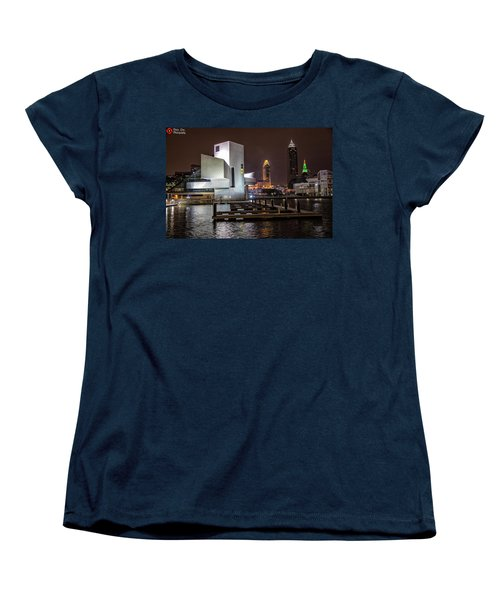Women's T-Shirt (Standard Cut) featuring the photograph Rock Hall Of Fame And Cleveland Skyline by Peter Ciro