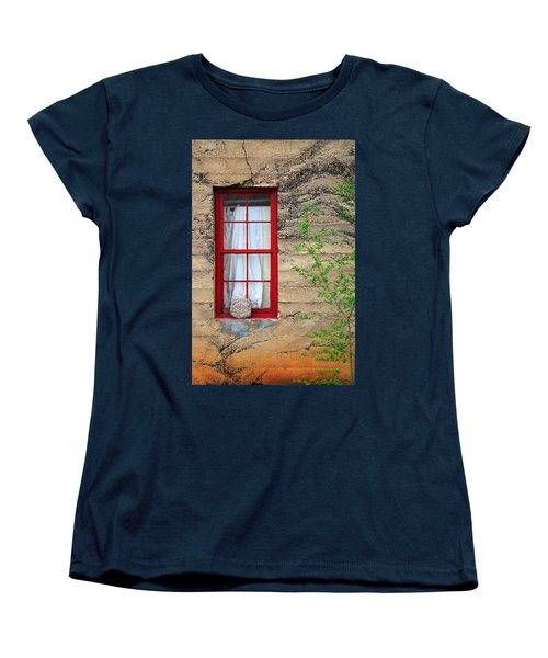Women's T-Shirt (Standard Cut) featuring the photograph Rock On A Red Window by James Eddy