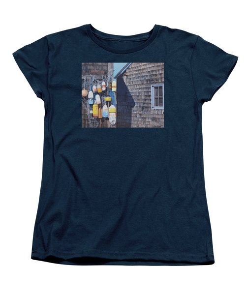 Rockport Fishing Shack With Lobster-buoys And Nets Women's T-Shirt (Standard Cut) by Barbara Barber