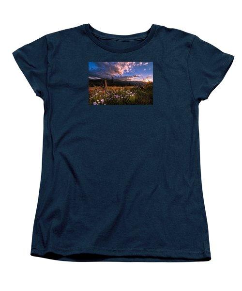 Rocky Mountain Summer Sunset Women's T-Shirt (Standard Cut) by Michael J Bauer