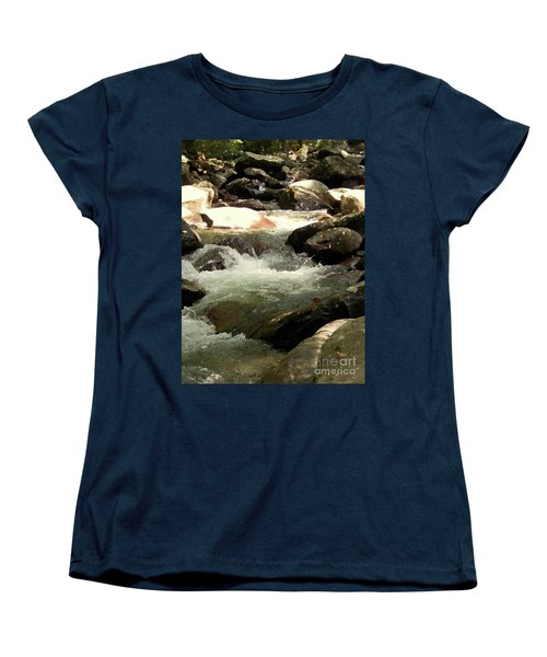 Women's T-Shirt (Standard Cut) featuring the mixed media Rocky Stream 4 by Desiree Paquette
