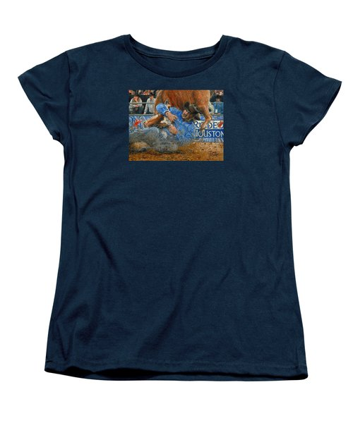 Women's T-Shirt (Standard Cut) featuring the painting Rodeo Houston --steer Wrestling by Doug Kreuger