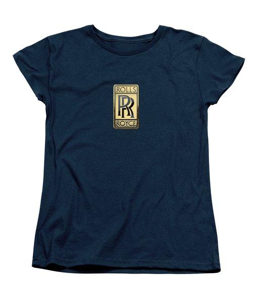 Rolls Royce - 3d Badge On Blue Women's T-Shirt (Standard Cut) by Serge Averbukh