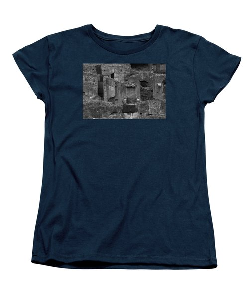 Women's T-Shirt (Standard Cut) featuring the photograph Roman Colosseum Bw by Silvia Bruno