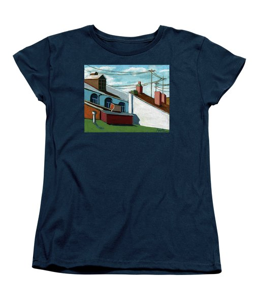 Women's T-Shirt (Standard Cut) featuring the painting Rooftops by Linda Apple
