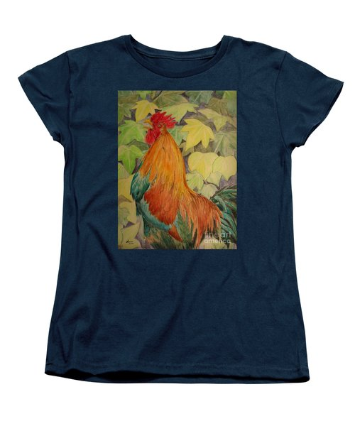 Women's T-Shirt (Standard Cut) featuring the painting Rooster by Laurianna Taylor